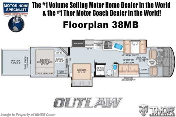 2021 Thor Motor Coach Outlaw Toy Hauler 38MB Toy Hauler RV W/ King Bed, Dual Pane & Garage Sofas Floorplan