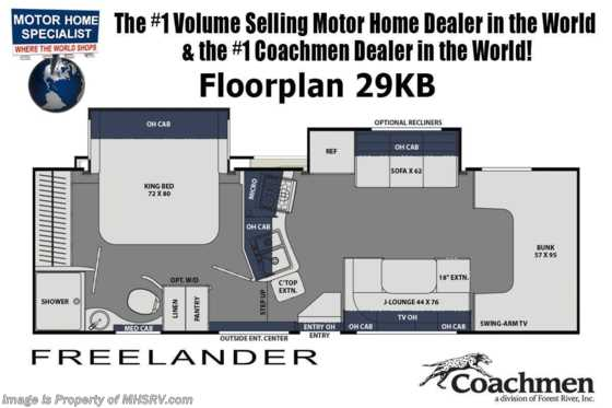 2021 Coachmen Freelander  29KB W/ Dual Recliners, King Bed, CRV Pkg, 2 A/Cs, Ext. TV & Jacks Floorplan