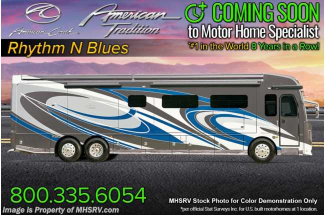 2021 American Coach American Tradition 42Q Bath & 1/2 W/ OH TV, King, 450HP, In-Motion Satellite, Dishwasher & Tech Package