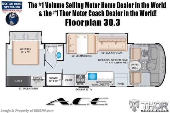 2022 Thor Motor Coach A.C.E. 30.3 Pet Friendly RV W/ OH Loft, Home Collection, Solar & 2 A/Cs Floorplan