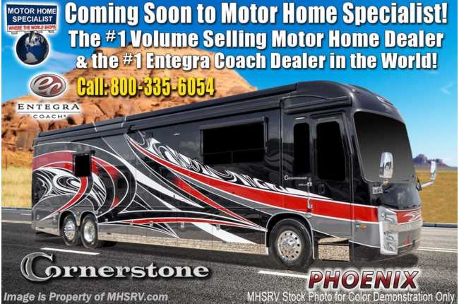 2021 Entegra Coach Cornerstone 45W Bath & 1/2 W/ 605HP, Theater Seats, Satellite, Stonewall, King & Solar