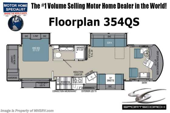 2021 Coachmen Sportscoach SRS 354QS W/ Theater Seats, W/D, King Bed, Fiberglass Roof, Ext TV, Power Loft & More! Floorplan