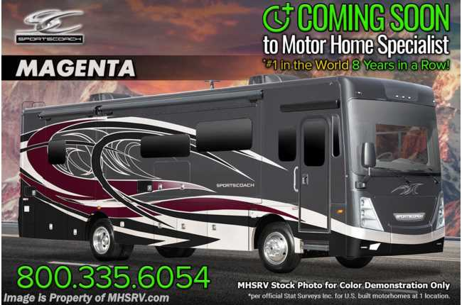 2021 Sportscoach Sportscoach SRS 365RB Bath & 1/2 W/ Theater Seats, W/D, King, 340HP, Ext Kitchen & OH Loft