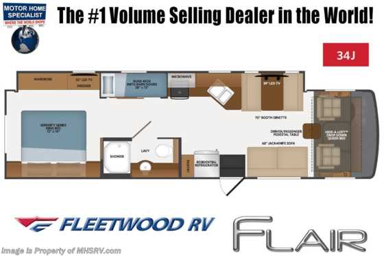 2021 Fleetwood Flair 34J Bunk Model W/ Theater Seats, Oceanfront Collection, 15K BTU A/C, FBP & King Bed Floorplan