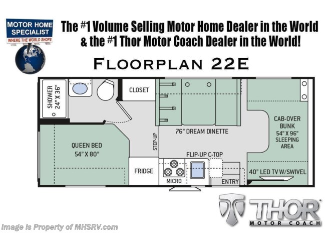 Floorplan of 2022 Thor Motor Coach Four Winds 22E