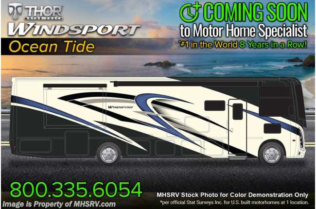 2022 Thor Motor Coach Windsport 34J Bunk Model W/ King Bed, Child Safety Tether, Solar