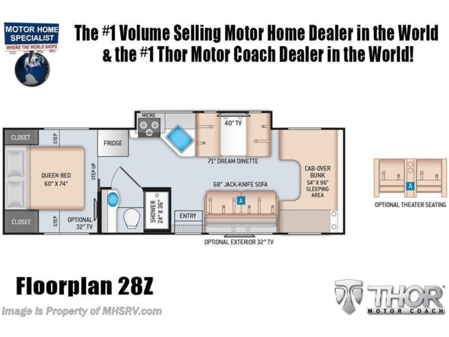 Floorplan of 2022 Thor Motor Coach Four Winds 28Z