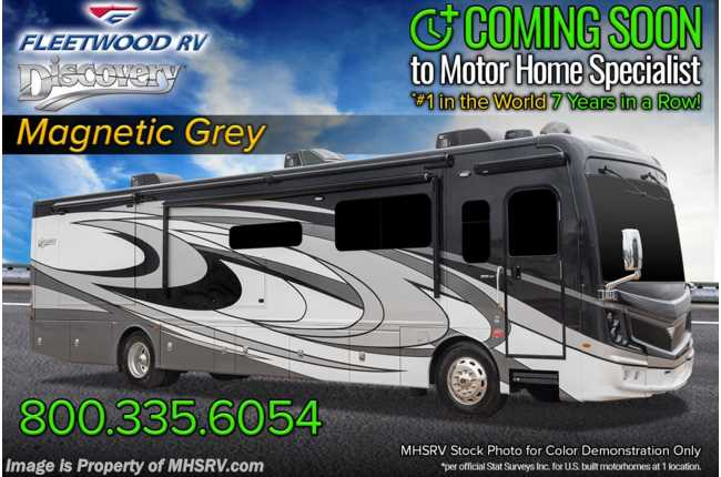 2021 Fleetwood Discovery 38N 2 Full Bath Bunk Model W/ OH Loft, Theater Seats, Oceanfront Collection, 3 A/Cs & Tech Pkg