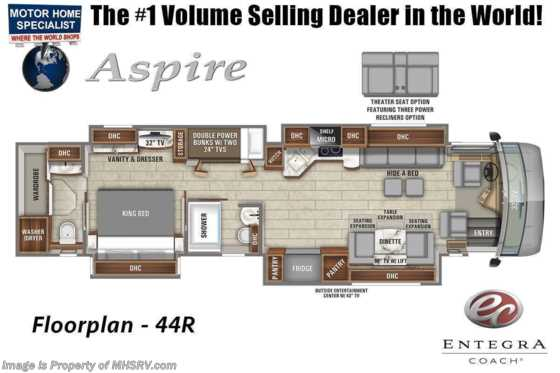 2022 Entegra Coach Aspire 44R Bath & 1/2 Bunk Model  W/ Valid Digital Dash, Solar, Stonewall Gray & Satellite Floorplan
