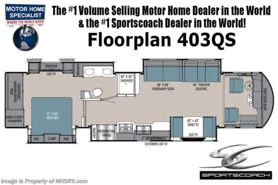 2021 Sportscoach Sportscoach 403QS W/ Theater Seats, W/D, Dual Pane Glass, Tile Floors & More! Floorplan