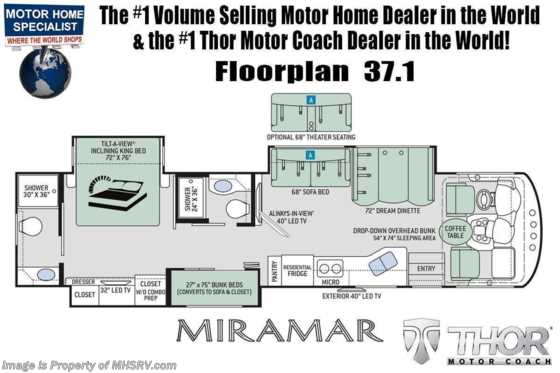 2022 Thor Motor Coach Miramar 37.1 2 Full Bath Bunk Model W/ Dual Pane Windows, Electric Fireplace, FBP Floorplan