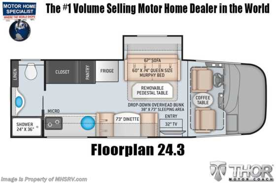 2022 Thor Motor Coach Axis 24.3 RV W/ Home Collection, Bedroom TV, Solar w/ Pwr Controller Floorplan