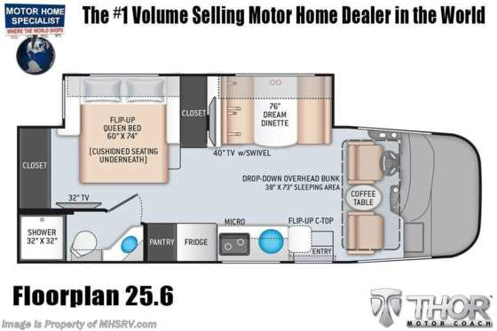 2022 Thor Motor Coach Axis 25.6 W/ Home Collection, Solar Charging System, Bedroom TV, OH Loft Floorplan