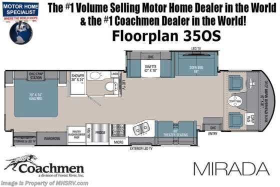 2021 Coachmen Mirada 35OS W/ Theater Seats, King Bed w/ Storage System, Ext TV & More! Floorplan