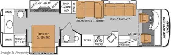 New 2014 Thor Motor Coach Palazzo 36.1 Bath & 1/2 RV for Sale W/2 Slides Floorplan