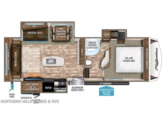 2019 Grand Design Reflection 29RS floorplan image