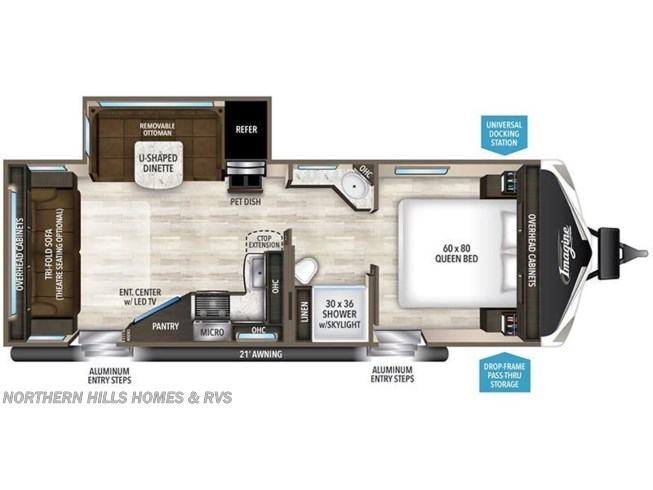 Floorplan of 2019 Grand Design Imagine 2500RL