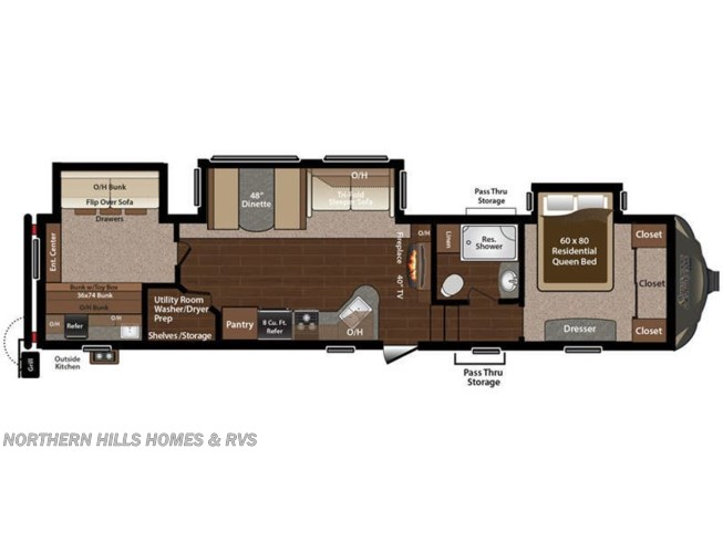 Floorplan of 2016 Keystone Sprinter 324FWBHS