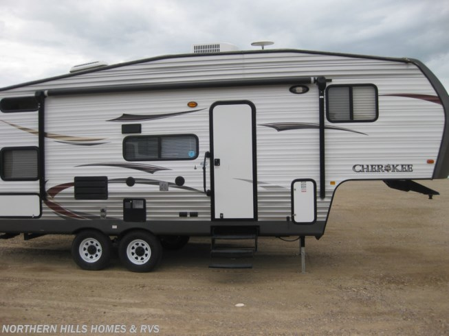 2014 Forest River Cherokee 235B - Used Fifth Wheel For Sale by Northern Hills Homes and RV's in Whitewood, South Dakota features Air Conditioning, Auxiliary Battery, Awning, Bunk Beds, CD Player, CO Detector, Leveling Jacks, LP Detector, Medicine Cabinet, Microwave, Oven, Queen Bed, Refrigerator, Roof Vents, Shower, Slideout, Smoke Detector, Stove Top Burner, Toilet, U-Shaped Dinette, Water Heater