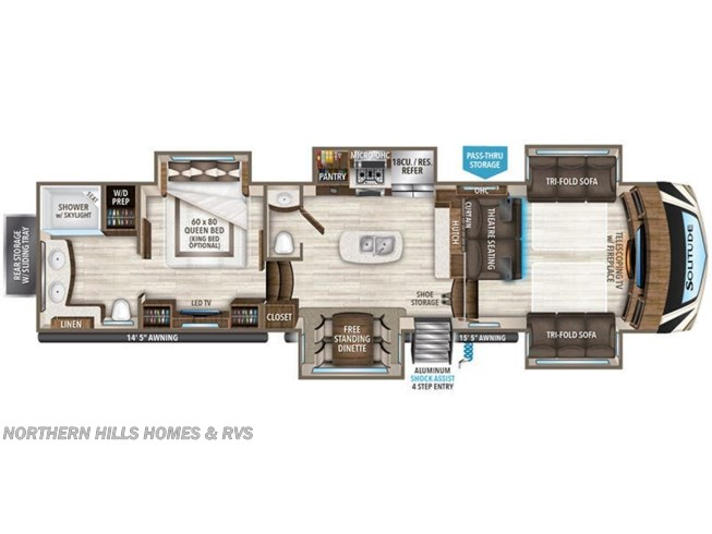 Floorplan of 2021 Grand Design Solitude 380FL