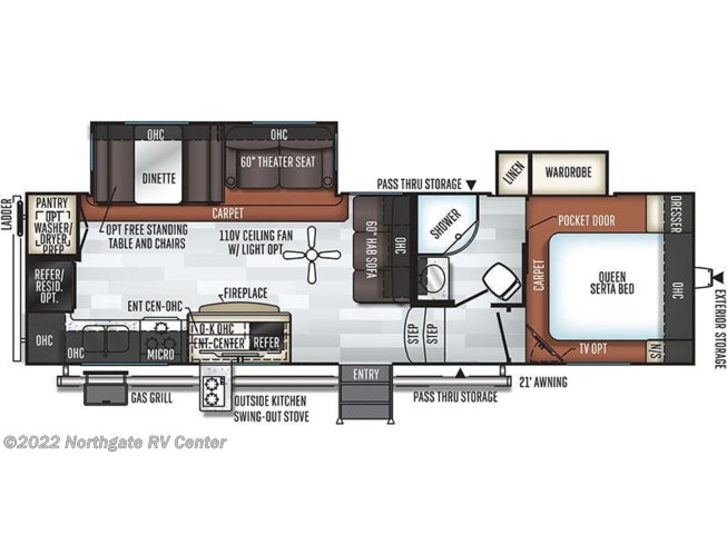 Floorplan of 2019 Forest River Flagstaff Super Lite 528RKS