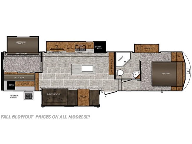 2018 Prime Time Crusader 337QBH floorplan image