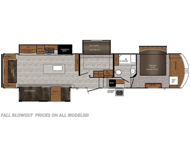 2018 Prime Time Crusader 381MBH floorplan image