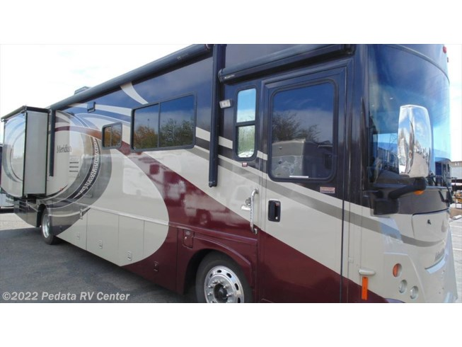 2008 Itasca Meridian 37H w/2slds - Used Diesel Pusher For Sale by Pedata RV Center in Tucson, Arizona features 6-Way Power Driver's Seat, Air Assist Suspension, Air Compressor, Air Conditioning, Alloy Wheels, AM/FM/CD, Automatic Leveling Jacks, Backup Camera, Backup Monitor, Batteries, Battery Charger, Convection Microwave, Converter, Corian Countertops, Day/Night Shades, Dinette Bed, External Shower, Fantastic Fan, Fire Extinguisher, Furnace, Generator, Glass Shower Door, Hitch, Icemaker, Inverter, Ladder, LCD HDTV, LP Detector, Non-Smoking Unit, Power Awning, Power Entrance Step, Power Roof Vent, Propane, Refrigerator, Rocker Recliner(s), Screen Door, Slideout, Slide-out Awning, Smoke Detector, Sofa Bed, Stove Top Burner, Thermal Pane Windows, Tinted Windows, TV Antenna, Water Heater