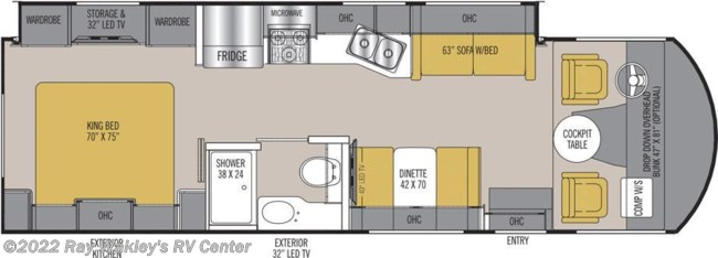 2018 Coachmen Mirada 29FW Floorplan