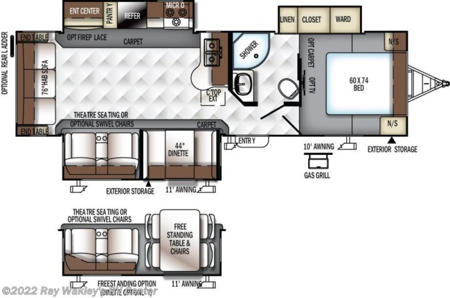 2018 Forest River Rockwood Ultra Lite 2906WS Floorplan