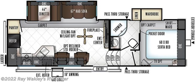 2018 Forest River Rockwood Ultra Lite 2880WS Floorplan
