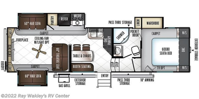 2018 Forest River Rockwood Signature Ultra Lite 8298WS Floorplan