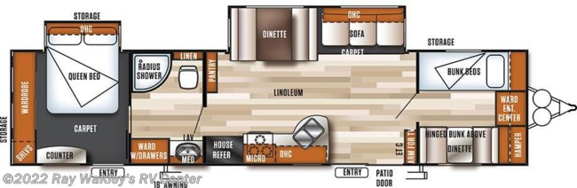 2018 Forest River Salem 36BHBS Floorplan