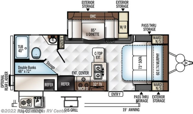 2018 Forest River Rockwood Mini Lite 2509S Floorplan