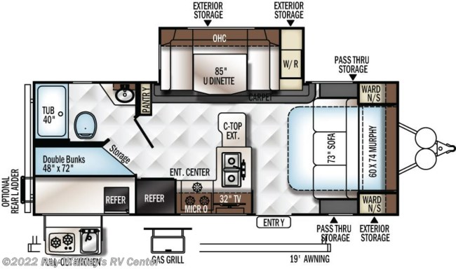 2019 Forest River Rockwood Mini Lite 2509S Floorplan