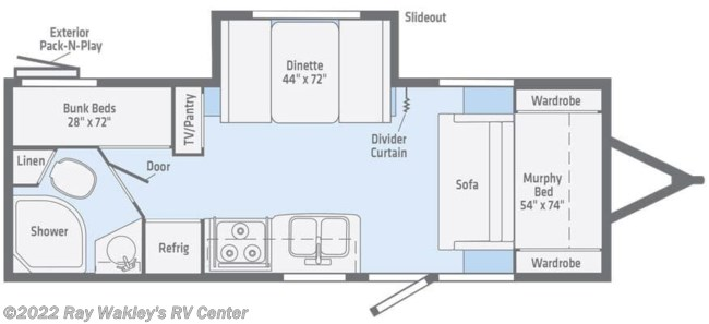 2020 Winnebago Micro Minnie 2306BHS Floorplan