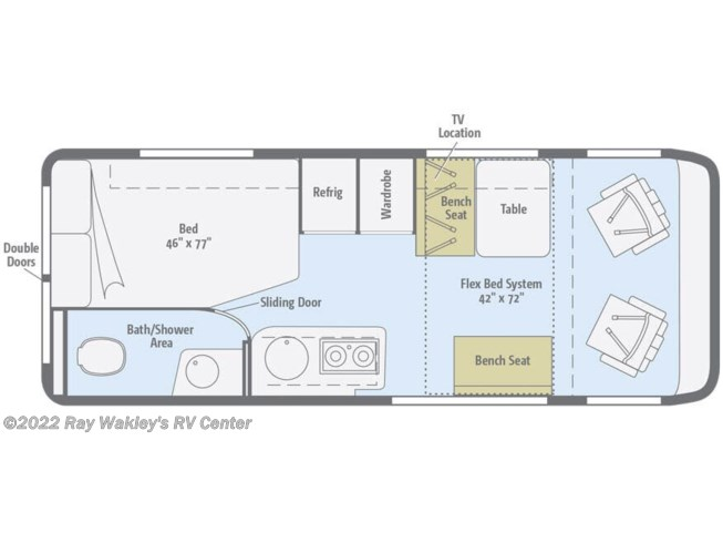 Floorplan of 2020 Winnebago Travato 59G
