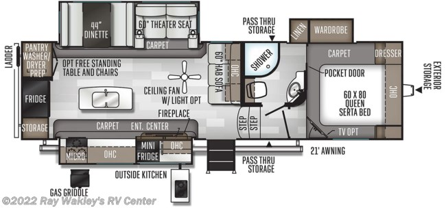 2020 Forest River Rockwood Ultra Lite 2882S Floorplan