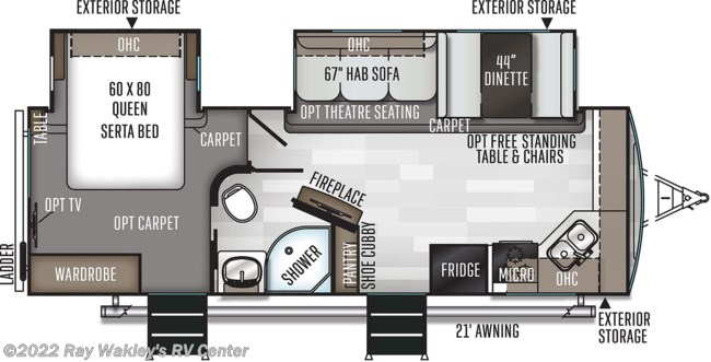 2020 Forest River Rockwood Ultra Lite 2608BS Floorplan