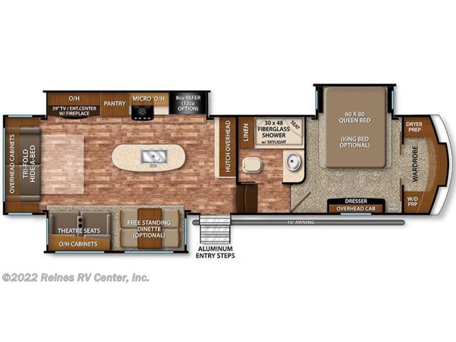 2017 Grand Design Reflection 337RLS floorplan image