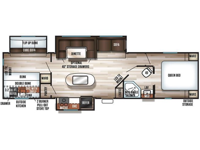 2017 Forest River Cherokee 304BH floorplan image