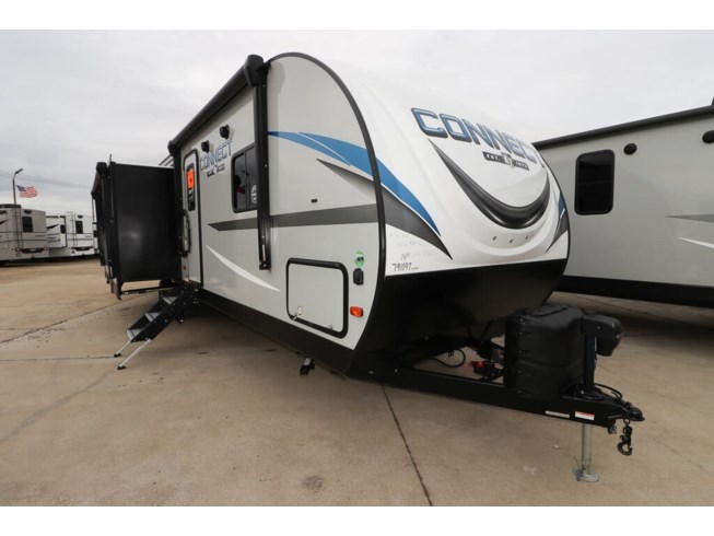 2020 K-Z Connect PLATINUM 322BHK - New Travel Trailer For Sale by McClain's RV Rockwall in Rockwall, Texas features 50 Amp Service, Air Conditioning, Aluminum Entrance Steps, AM/FM/CD, Awning, Bike Rack, Bluetooth Stereo, Booth Dinette, Bunk Beds, CD Player, CO Detector, Detachable Power Cord, Dinette Bed, DVD Player, Enclosed Underbelly, Fiberglass Sidewalls, Fireplace, Furnace, King Size Bed, Kitchen Sink, Leather Furniture, LED Lights, LP Detector, Medicine Cabinet, Microwave, Mini Blinds, Outside Kitchen, Oven, Overhead Cabinetry, Pantry, Pass Thru Storage, Pet Friendly, Power Awning, Power Seats, Propane, Refrigerator, Removable Table, Screen Door, Second Roof A/C, Shower, Skylight, Slideout, Smoke Detector, Solar Prep, Spare Tire Kit, Stainless Appliances, Stereo System, Stove, Theater Seating, Toilet, TV Antenna, Wardrobe(s), Water Heater