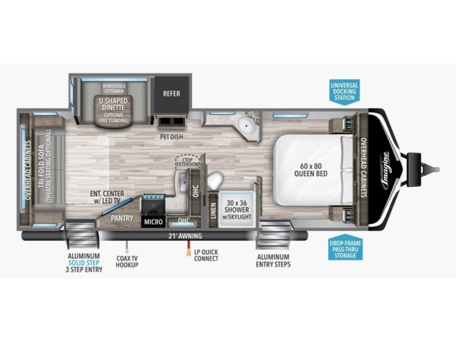 2021 Grand Design Imagine 2500RL - New Travel Trailer For Sale by McClain's RV Superstore in Corinth, Texas features Awning, Pass Thru Storage, Solar Prep, Heated Underbelly, Air Conditioning
