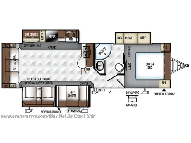 2017 Forest River Rockwood Ultra Lite 2906WS floorplan image