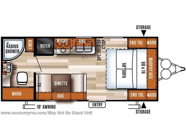 2017 Forest River Salem Cruise Lite 171RBXL floorplan image