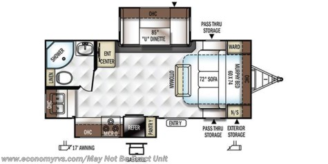 2017 Forest River Rockwood Ultra Lite 2304DS floorplan image