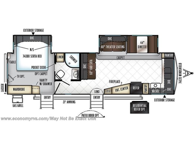 2018 Forest River Rockwood Signature Ultra Lite 8335BSS floorplan image