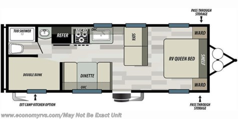 2019 Forest River Salem Cruise Lite 261BHXL floorplan image