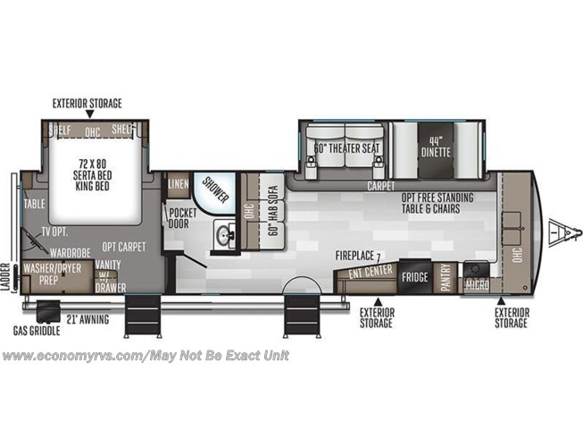 Floorplan of 2020 Forest River Rockwood Signature Ultra Lite 8335SB