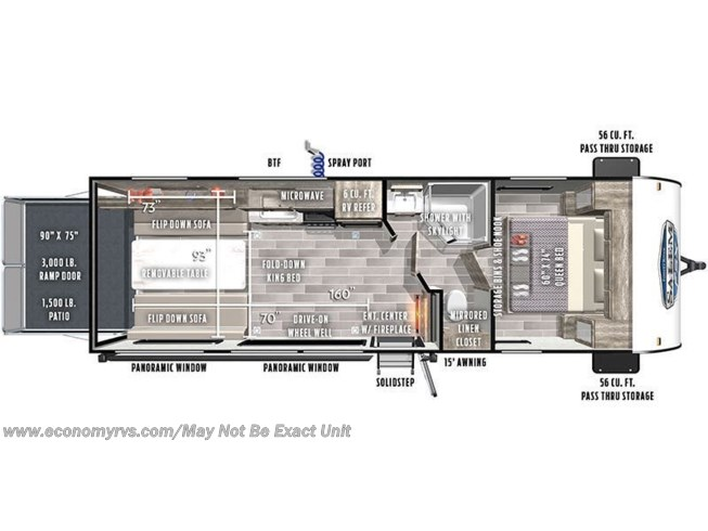 Floorplan of 2020 Forest River Salem FSX 260RT